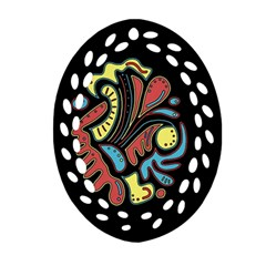 Colorful abstract spot Oval Filigree Ornament (2-Side)