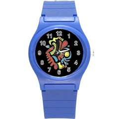 Colorful abstract spot Round Plastic Sport Watch (S)