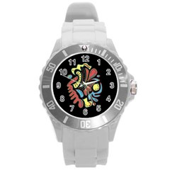 Colorful abstract spot Round Plastic Sport Watch (L)