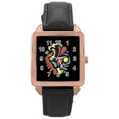 Colorful abstract spot Rose Gold Leather Watch