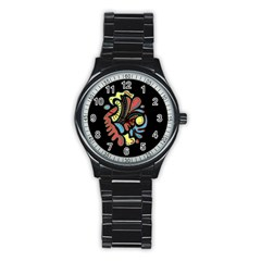 Colorful abstract spot Stainless Steel Round Watch