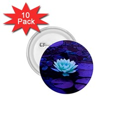 Lotus Flower Magical Colors Purple Blue Turquoise 1.75  Buttons (10 pack)