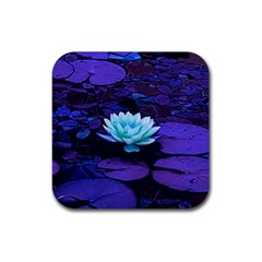 Lotus Flower Magical Colors Purple Blue Turquoise Rubber Coaster (Square)