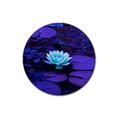 Lotus Flower Magical Colors Purple Blue Turquoise Rubber Coaster (Round)