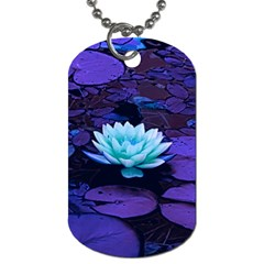 Lotus Flower Magical Colors Purple Blue Turquoise Dog Tag (Two Sides)