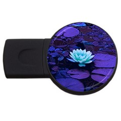 Lotus Flower Magical Colors Purple Blue Turquoise USB Flash Drive Round (2 GB)