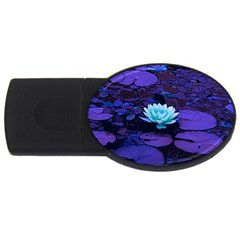 Lotus Flower Magical Colors Purple Blue Turquoise USB Flash Drive Oval (2 GB)