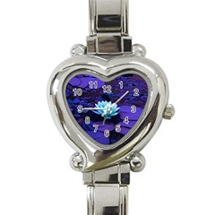 Lotus Flower Magical Colors Purple Blue Turquoise Heart Italian Charm Watch