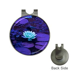 Lotus Flower Magical Colors Purple Blue Turquoise Hat Clips with Golf Markers