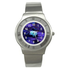 Lotus Flower Magical Colors Purple Blue Turquoise Stainless Steel Watch