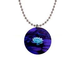 Lotus Flower Magical Colors Purple Blue Turquoise Button Necklaces