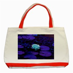 Lotus Flower Magical Colors Purple Blue Turquoise Classic Tote Bag (Red)