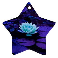 Lotus Flower Magical Colors Purple Blue Turquoise Star Ornament (Two Sides)