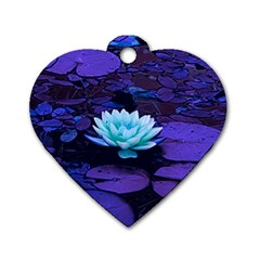 Lotus Flower Magical Colors Purple Blue Turquoise Dog Tag Heart (One Side)