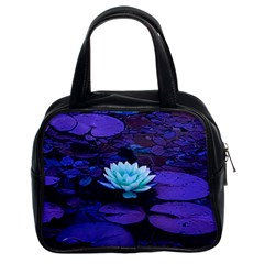Lotus Flower Magical Colors Purple Blue Turquoise Classic Handbags (2 Sides)