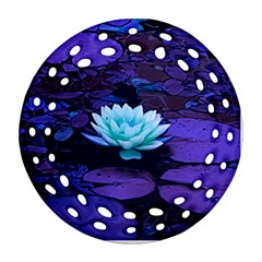 Lotus Flower Magical Colors Purple Blue Turquoise Round Filigree Ornament (2Side)