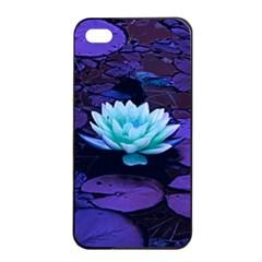 Lotus Flower Magical Colors Purple Blue Turquoise Apple iPhone 4/4s Seamless Case (Black)