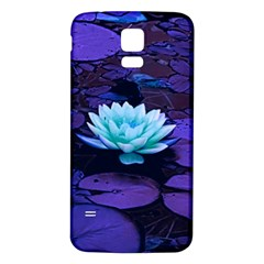 Lotus Flower Magical Colors Purple Blue Turquoise Samsung Galaxy S5 Back Case (White)