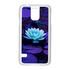 Lotus Flower Magical Colors Purple Blue Turquoise Samsung Galaxy S5 Case (white)