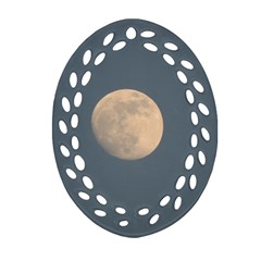 The Moon and blue sky Oval Filigree Ornament (2-Side)
