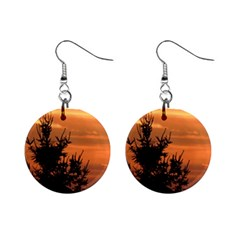 Christmas Tree And Sunset Mini Button Earrings
