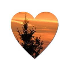 Christmas Tree And Sunset Heart Magnet