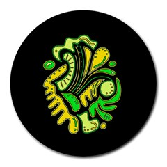 Yellow and green spot Round Mousepads