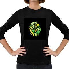 Yellow and green spot Women s Long Sleeve Dark T-Shirts