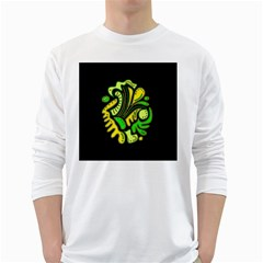 Yellow and green spot White Long Sleeve T-Shirts