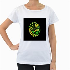 Yellow and green spot Women s Loose-Fit T-Shirt (White)