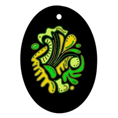Yellow and green spot Oval Ornament (Two Sides)
