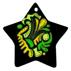 Yellow and green spot Star Ornament (Two Sides)