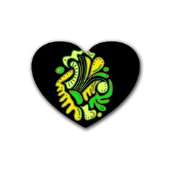 Yellow and green spot Rubber Coaster (Heart)