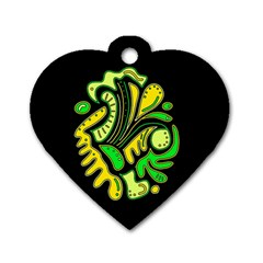 Yellow and green spot Dog Tag Heart (Two Sides)