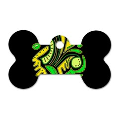 Yellow and green spot Dog Tag Bone (One Side)