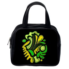 Yellow and green spot Classic Handbags (One Side)