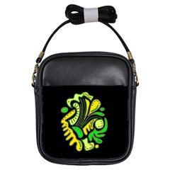 Yellow and green spot Girls Sling Bags