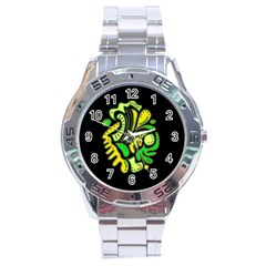 Yellow and green spot Stainless Steel Analogue Watch