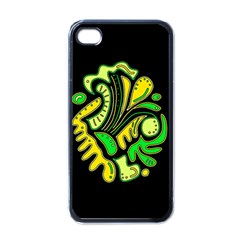 Yellow and green spot Apple iPhone 4 Case (Black)