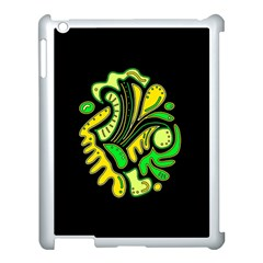 Yellow and green spot Apple iPad 3/4 Case (White)