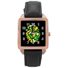 Yellow and green spot Rose Gold Leather Watch