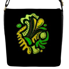 Yellow and green spot Flap Messenger Bag (S)