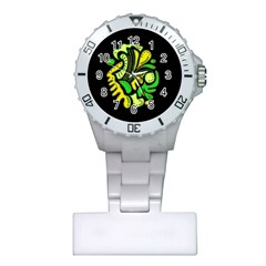 Yellow and green spot Plastic Nurses Watch