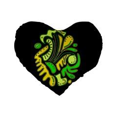 Yellow and green spot Standard 16  Premium Flano Heart Shape Cushions