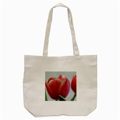 Red - White Tulip flower Tote Bag (Cream)