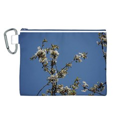 White Cherry flowers and blue sky Canvas Cosmetic Bag (L)
