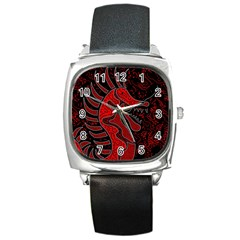 Red dragon Square Metal Watch