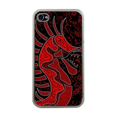 Red dragon Apple iPhone 4 Case (Clear)
