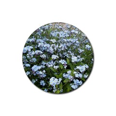 Blue Forget Me Not Flowers Rubber Round Coaster (4 Pack)