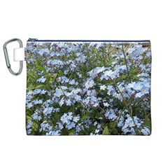 Little Blue Forget-me-not flowers Canvas Cosmetic Bag (XL)